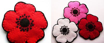 Broches de flores en fieltro