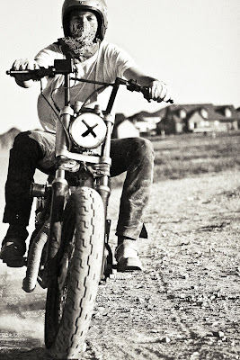 Black and White Photograph of a Motorcycle