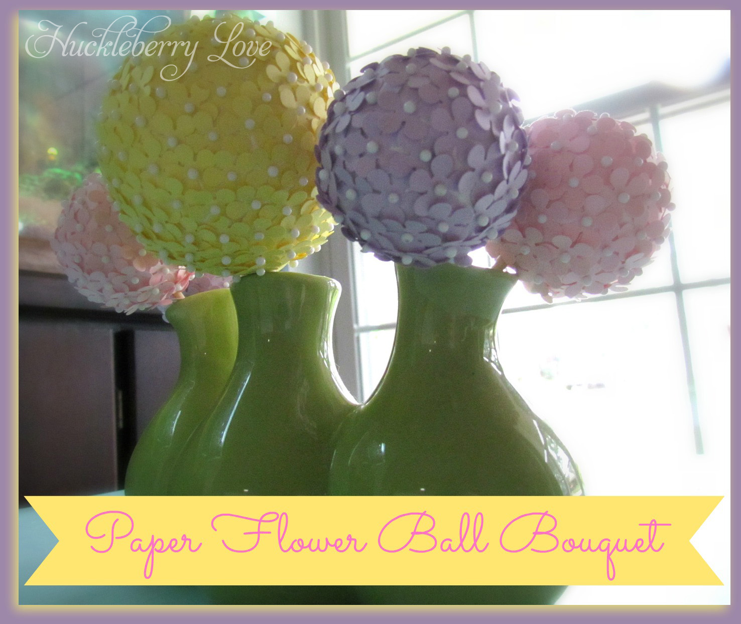 Huckleberry Love: Paper Flower Ball Bouquet {Tutorial}