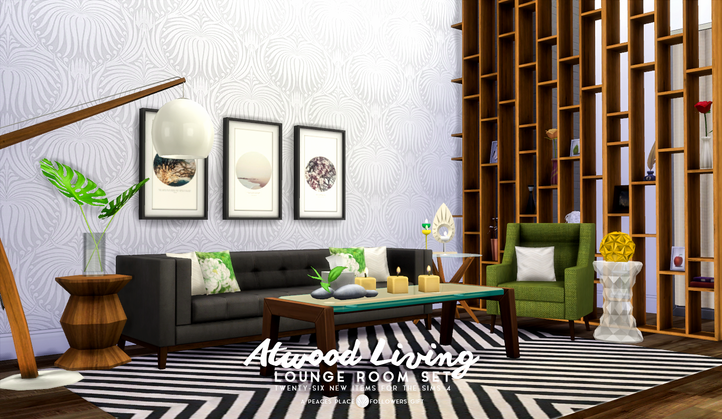 Simsational designs updated atwood living lounge room for Living room sims 4