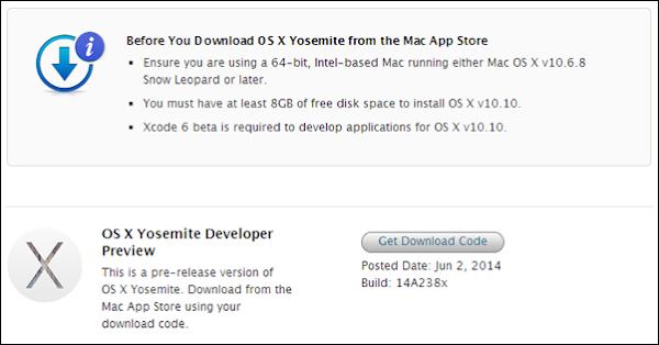 Apple Mac OS X (10.10) Yosemite download