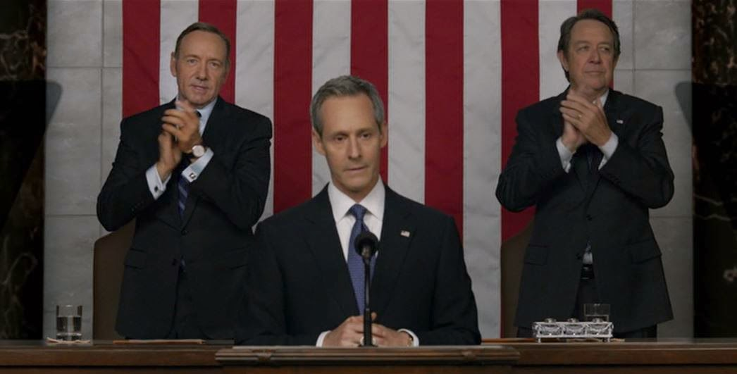 Vice President Frank Underwood behind President Garrett Walker at State of the Union