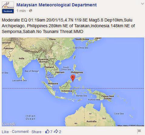 Berita Gempa Bumi di Sabah Berita Terkini Gempa Bumi