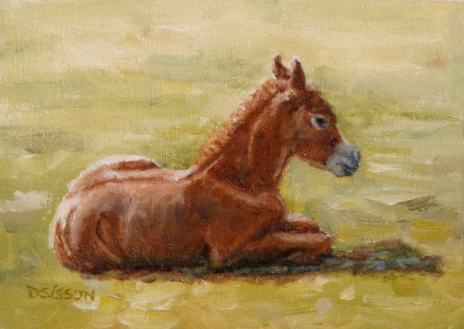 Daily painting projects pasture foal oil painting horse for Animal oil paintings