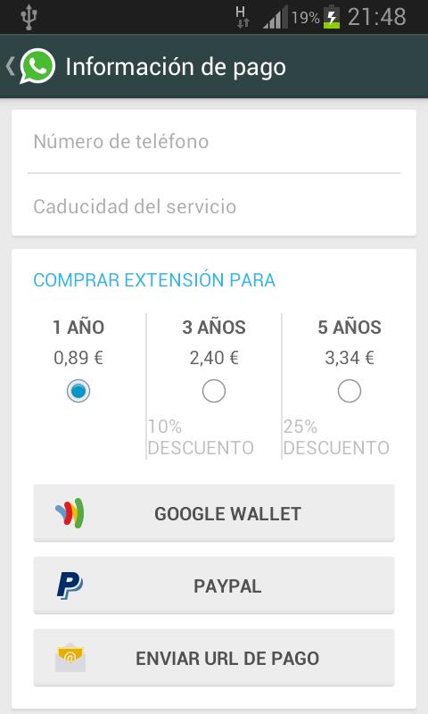 WhatsApp - Informacion de Pago