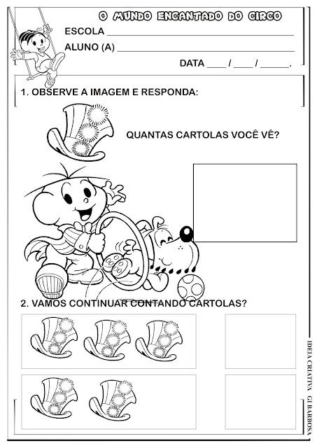 Atividade Matemática Projeto Circo Turma da Mônica