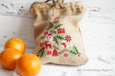мандарины, мешок, подарки, Новый год