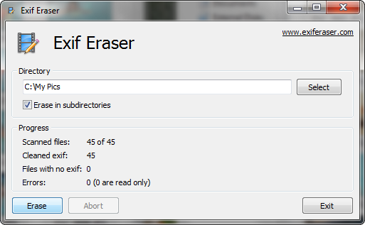 How to erase EXIF data from the images.