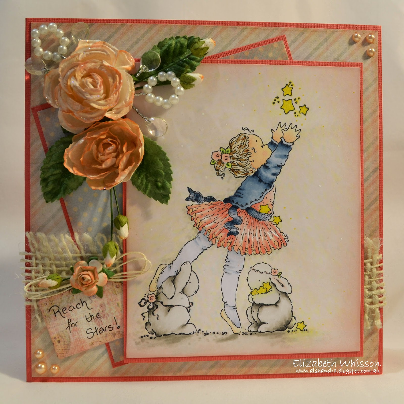 Elizabeth Whisson, Penny Black, Reach for the stars, flowers, handmade card, copics, rabbits, pearls, burlap