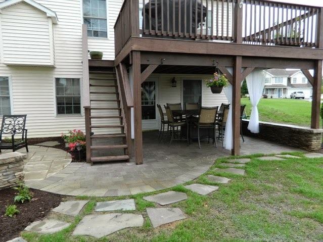 Backyard landscaping patio under deck design ideas for Patio with deck