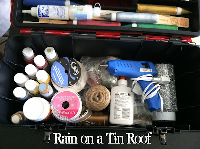 Toolbox for Craft Supplies {rainonatinroof.com} #toolbox #crafts #storage
