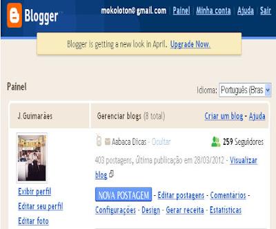 mudança no painel do blogger