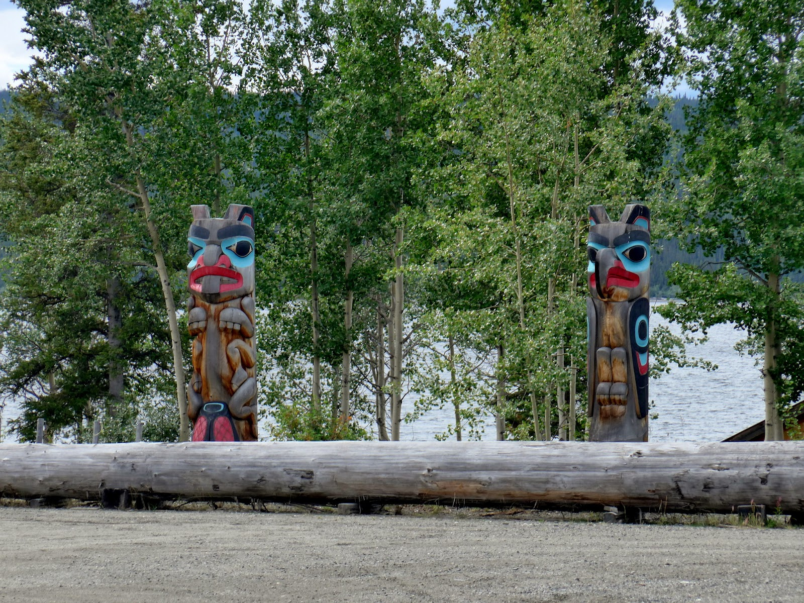 Totem poles at The Teslin Tlingit Heritage Centre