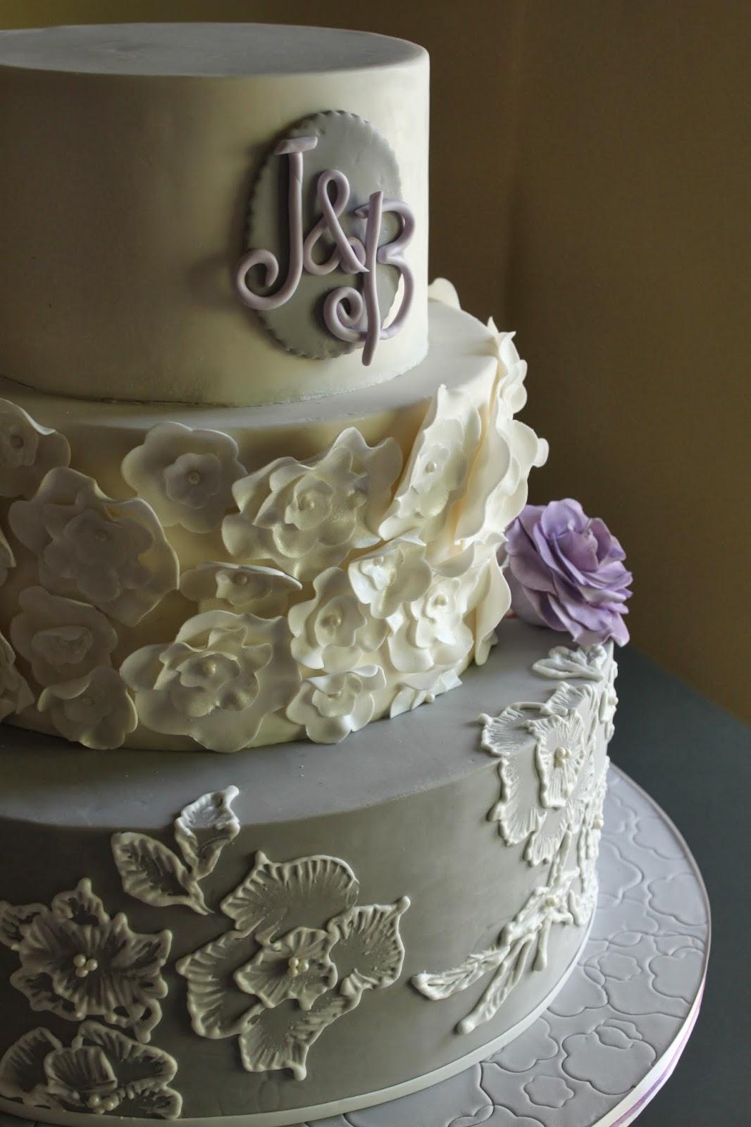 Lavender Amp Grey Wedding Cake