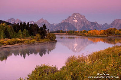 Mount Moran reflected in the Snake River at Oxbow Bend before sunrise, Grand Teton National Park, Wyoming, USA.
