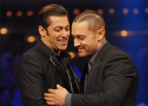 Salman Khan and Amir Khan hugging with smile in a meeting