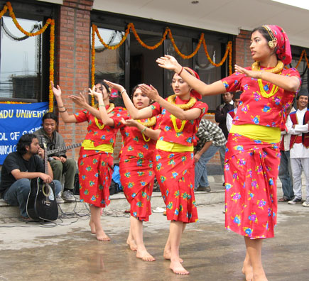 Its all about nature nepalese gurung girls wearing traditional costumes dance during the new year parade of tamu losar in kathmandu nepal m4hsunfo