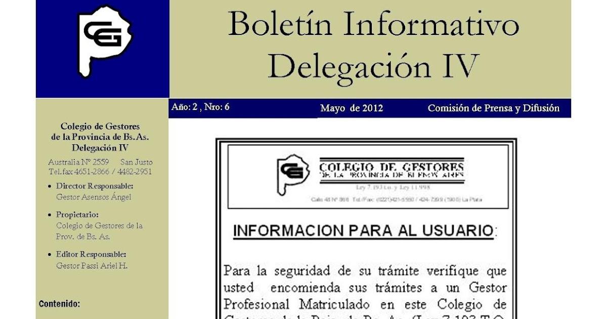 COLEGIO DE GESTORES DELEGACION IV: Boletín Informativo Mayo 2012