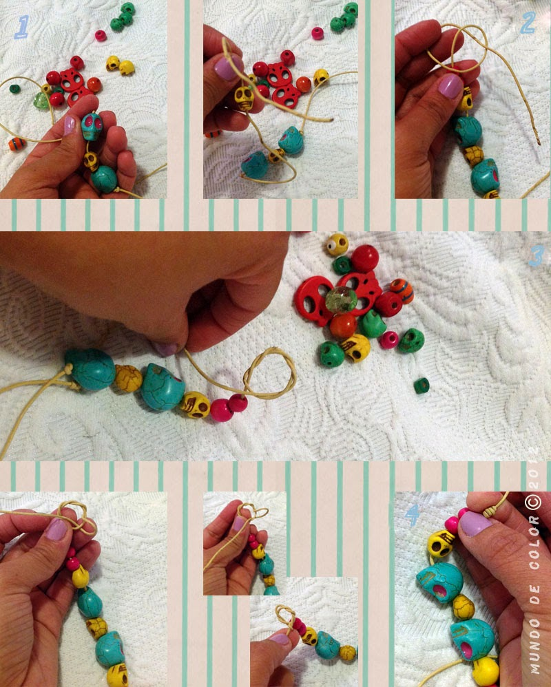 step by step colorful skulls bracelet