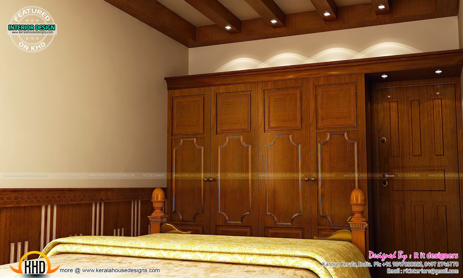 Master bedroom designs kerala home design and floor plans for Interior designs for bedroom cupboards