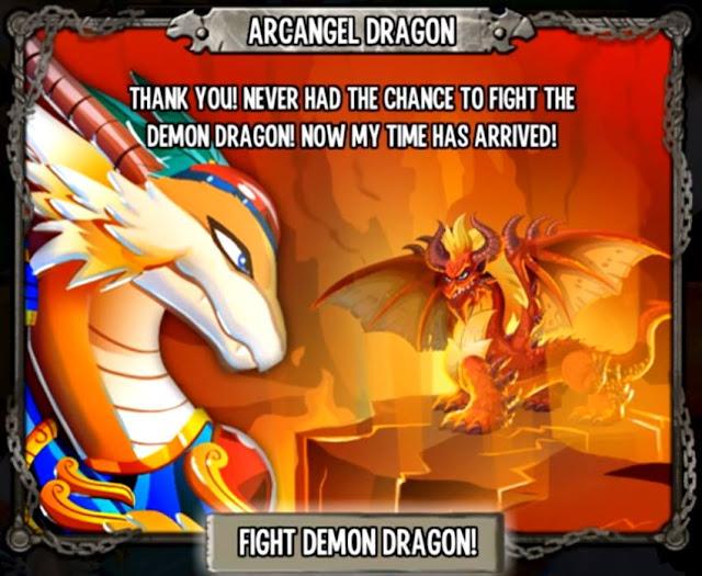 imagen del dragon arcangel apareciendo para ayudar contra el dragon demonio