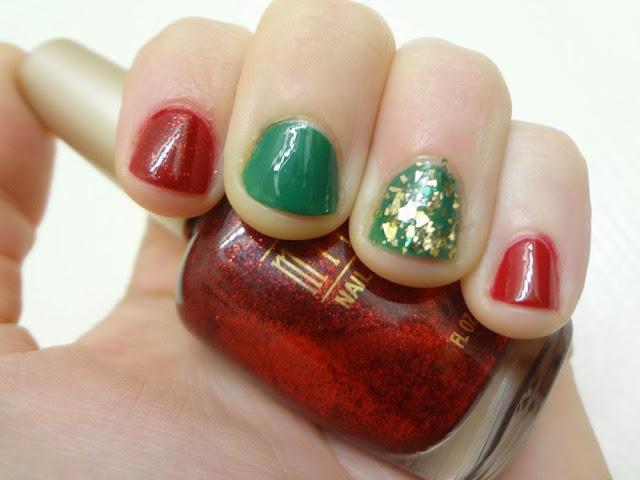 aka Bailey, Christmas nails, Milani Ruby Jewels, green, gold, nail polish