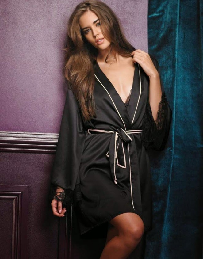 Clara Alonso models nightwear for Lipsy London's 2014 Lookbook