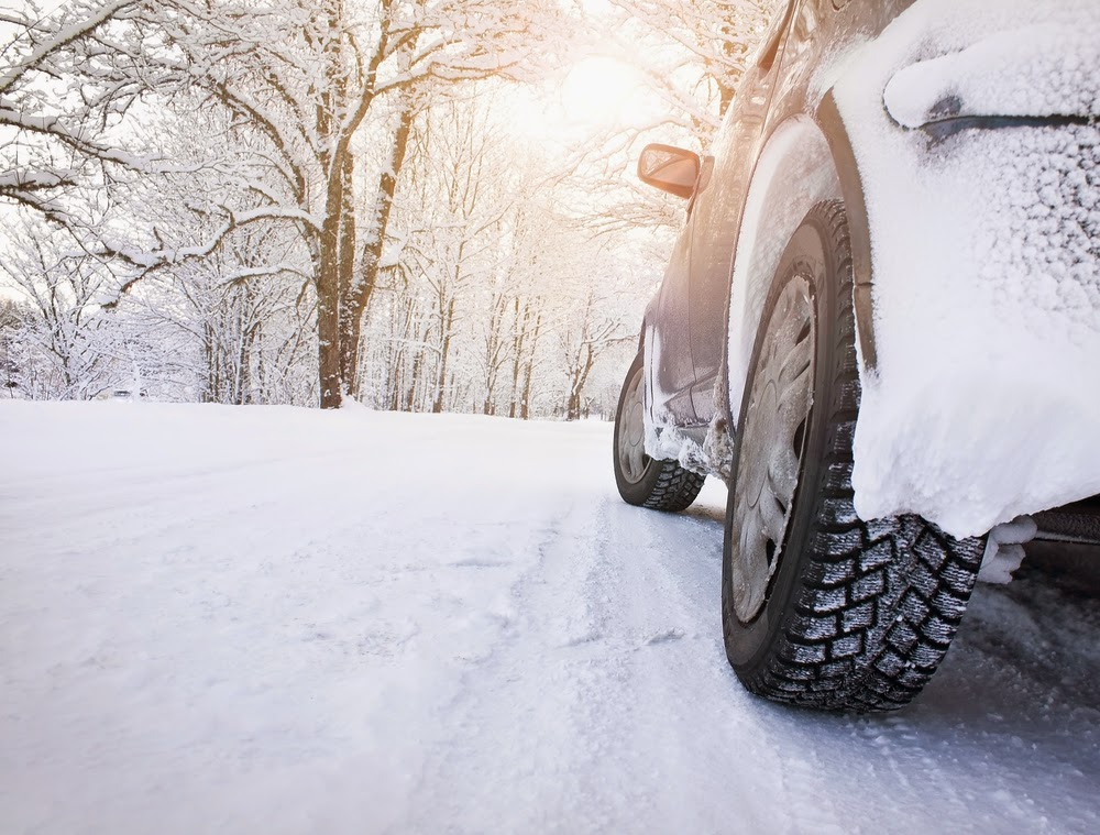 image of tires and car on snowy road