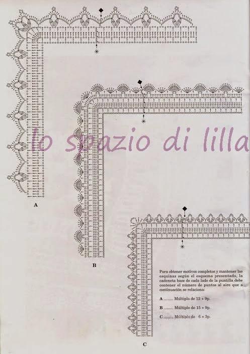 Lo spazio di lilla schemi di bordi crochet con angoli for Merletti a uncinetto schemi
