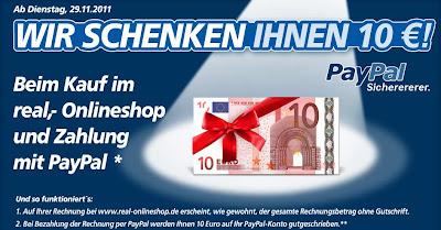 Mit PayPal im Real-Online-Shop zahlen und 10 Euro für Einkauf ab 50 Euro geschenkt bekommen