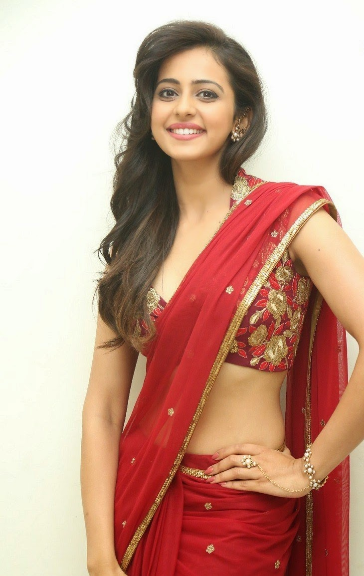 rakul preet singh hot photos in red saree at tiger audio release