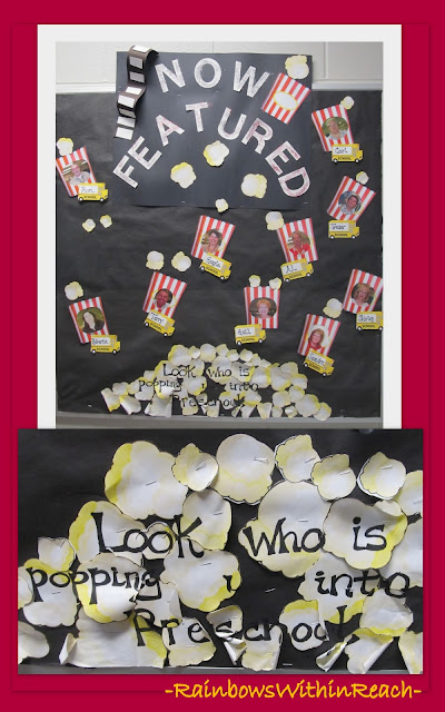 photo of: Preschool Bulletin Board: Movie/Popcorn theme