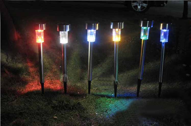 outdoor garden yard solar powered warm white led stake light lamp
