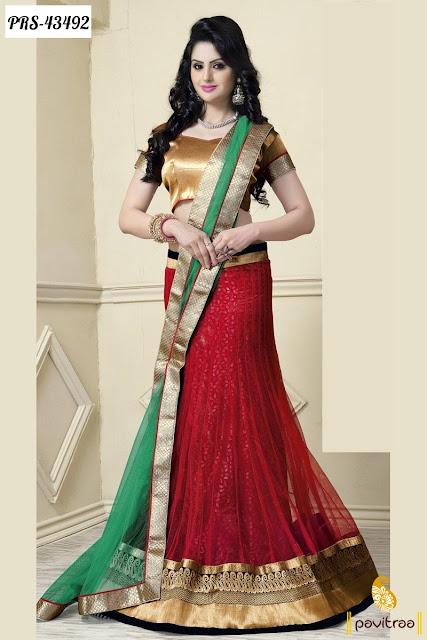Karva Chauth special red net lehengha choli online shopping
