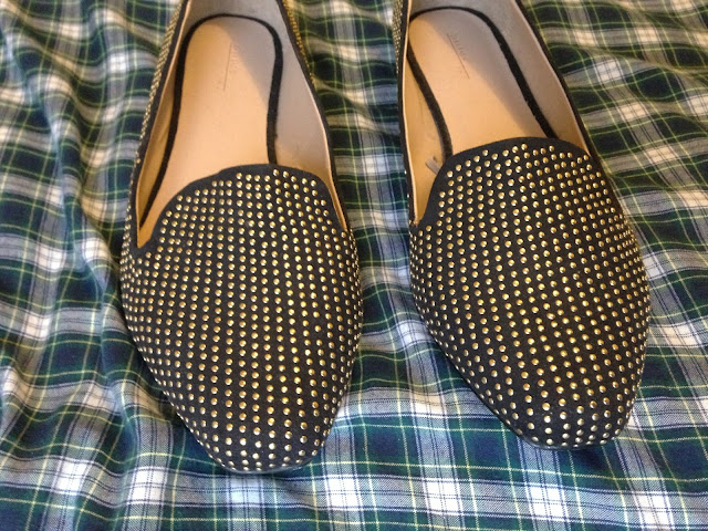 Zara flat studded shoes