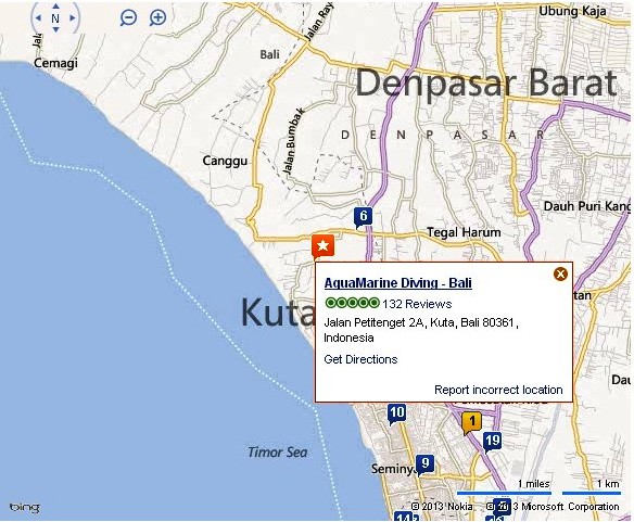 Location Map of AquaMarine Diving Kuta Bali island,AquaMarine Diving Kuta Bali Location Map,AquaMarine Diving Kuta accommodation attractions hotels divind spot map