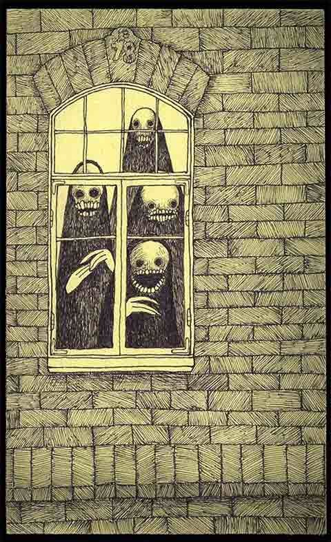 four monsters behind the window halloween pencil  drawings by John Kenn