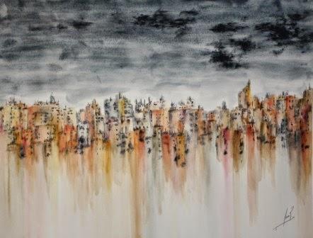La Ciudad Nerviosa II. Acuarela 2012. 40X53cm