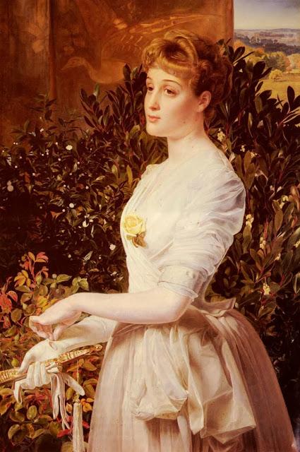 anthony frederick sandys, victorian painting, white dress