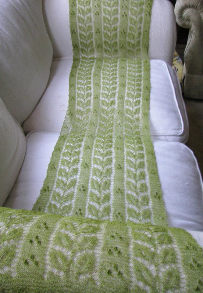 Willow Leaf Knitting Pattern : Lacey crafts, by Liina: Green willow leaves patterned ...