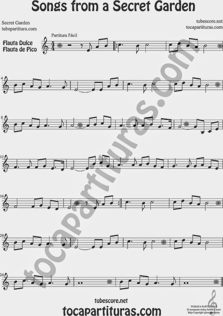 Songs from a Secret Garden Partitura de Flauta Travesera, flauta dulce y flauta de pico Sheet Music for Flute and Recorder Music Scores