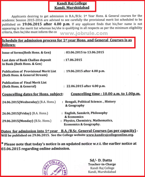 Kandi Raj College Online Admission 2015 Advertisement, Merit List & Counseling Schedule Date Sheet