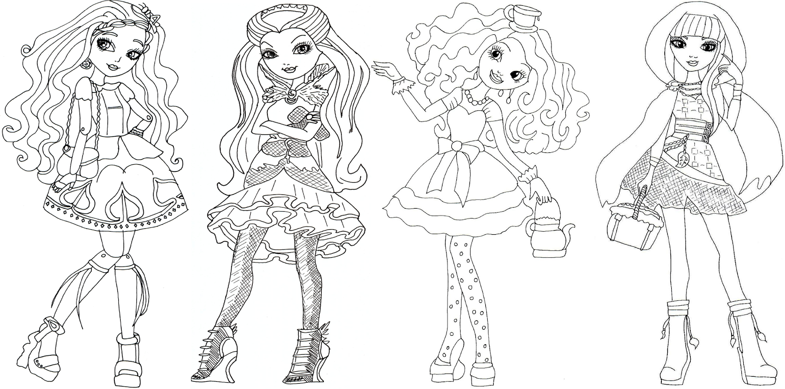 Free Printable Ever After High Coloring Page For Cedar Wood Raven Queen Madeline Hatter And Cerise Hood