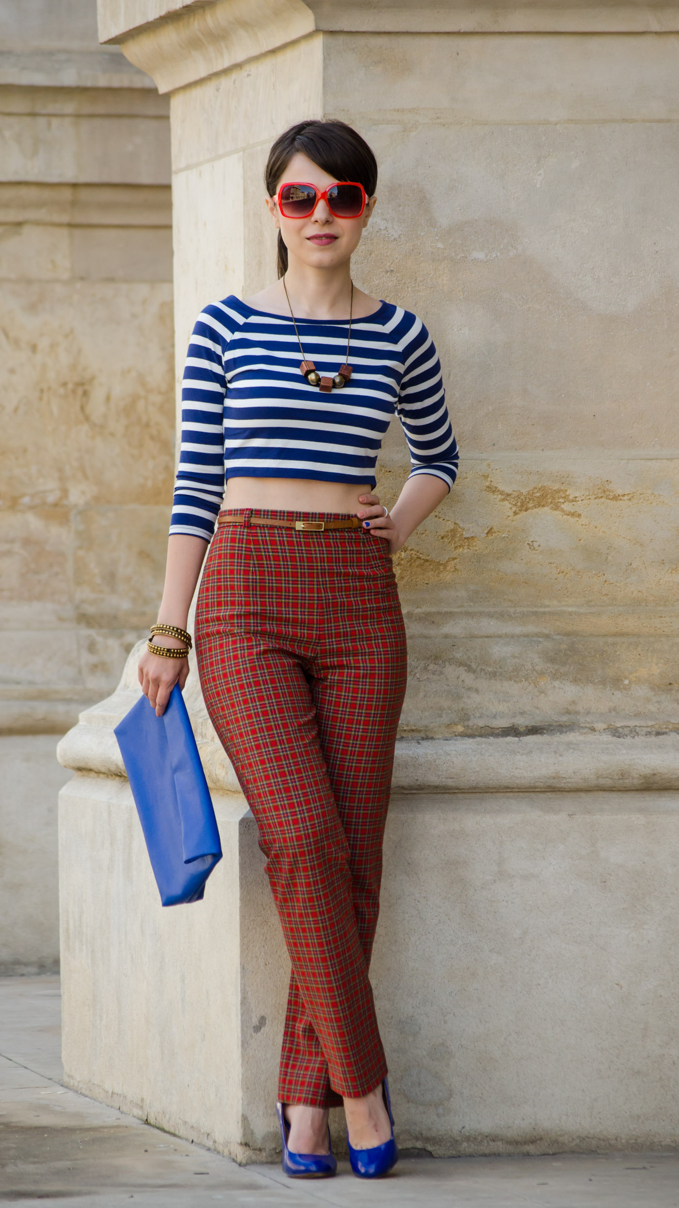 crop top high waist pants tartan blue stripes