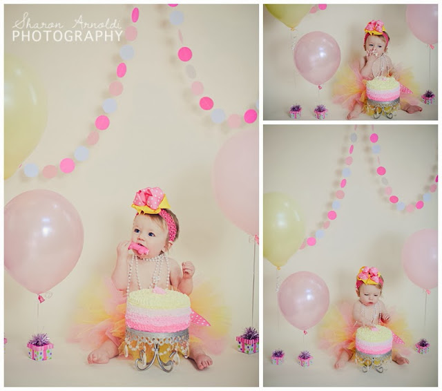Piped Dreams First Birthday Cake Pink And Yellow Ombre Cake
