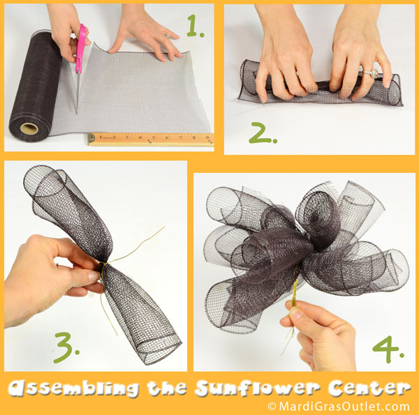 Sunflower Tutorial- Create the darker center with small brown curls of deco mesh.