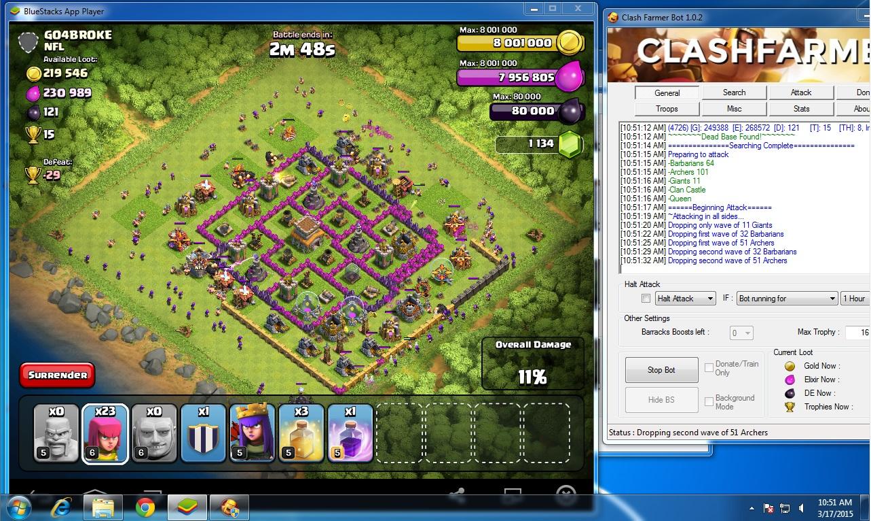 bluestack clash of clans bot