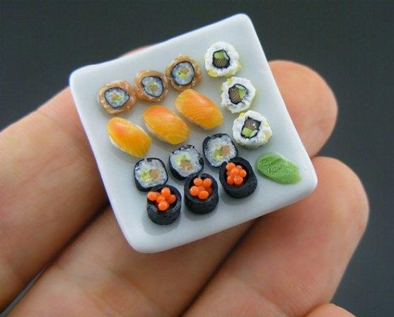 sushi sculpture, miniature food sculptures,adorable