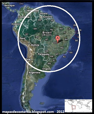 Ubicación de Brasil en Sudamérica, Vista Satelital 2012