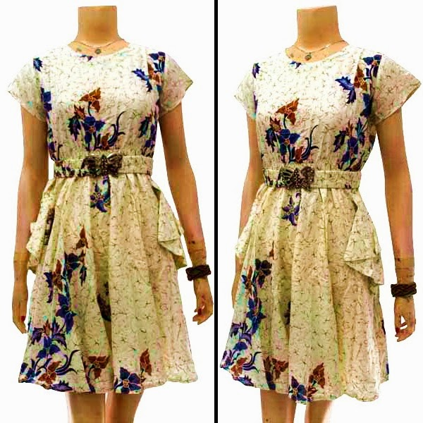 DB3690 Model Baju Dress Batik Modern Terbaru 2014